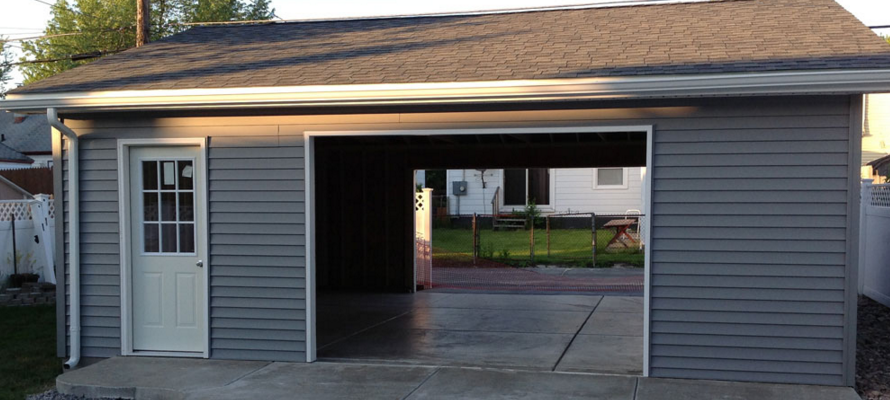 Detached drive thru garage custom garage builders for Drive through carport